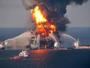 The Deepwater Horizon oil rig after the explosion on April 21