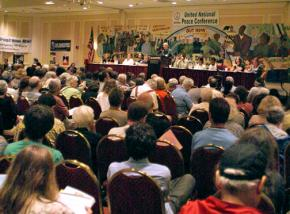 Participants listen to a panel of speakers at the United National Antiwar Conference