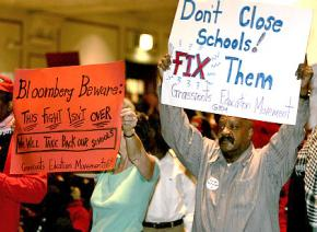 Parents and community members protest the closings of New York City public schools in January