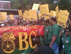 Members of the Teamsters National Black Caucus led a spirited contingent at the Reclaim the Dream march