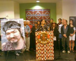 A press conference called by the Chief Seattle Club to mourn the police killing of John T. Williams