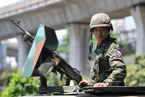 Thai soldiers in the streets of downtown Bangkok in April