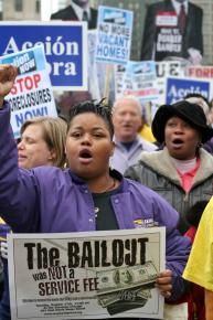 Union members march against backward priorities of bailouts for Wall Street and layoffs for workers
