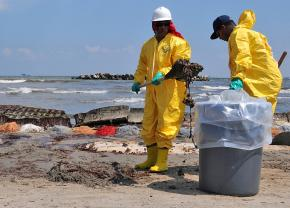 Cleanup crews on the Gulf coast at Port Fourchon, La., after the BP disaster