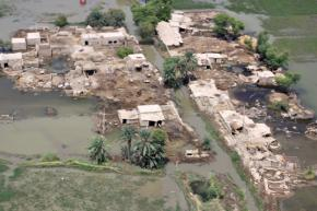 A small village devastated by the flooding in Pakistan remains marooned as floodwaters recede