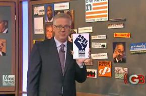 Glenn Beck details his conspiracy theories using the logo of the International Socialist Organization