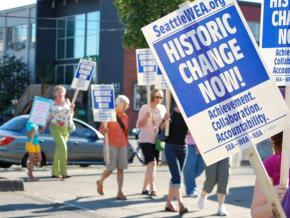 Members of Seattle Education Association rally in August