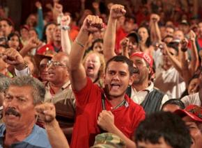 PSUV members rally before the elections in September