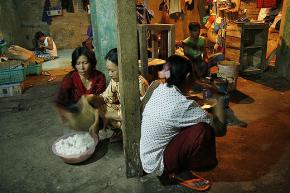 An extended family living in a cramped space in the Indonesian capital of Jakarta