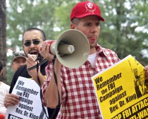 Protesting the FBI's raids of activists' homes in Minneapolis and Chicago