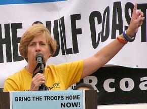 Cindy Sheehan speaks at an antiwar demonstration