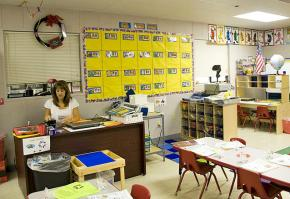 A teacher prepares for the school day in Texas