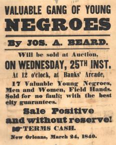 An ad for a slave auction in 1840