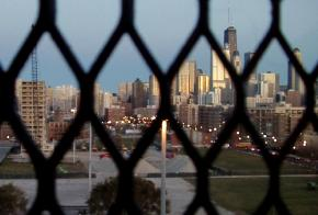View of the Chicago skyline from the 10th floor of the Cabrini-Green high-rise at 1260 Burling