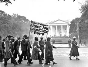 A communist-led march on Washington demanding justice for the Scottsboro Boys in 1933