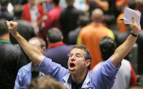 An agitated trader on the floor of the New York Stock Exchange