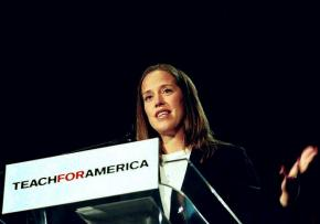 Teach For America CEO and Founder Wendy Kopp speaking at an education conference in New Orleans