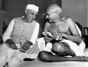 India's first prime minister Jawaharlal Nehru (left), with Mahatma Gandhi in 1946