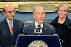 Left to right: Joel Klein, Michael Bloomberg and Cathie Black