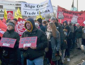 Tens of thousands march in Dublin to protest austerity and the European Union-IMF bailout