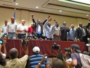 Twelve of the 18 presidential candidates from Haiti's election call for the vote to be annulled due to fraud