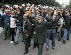Tunisian protesters on the march in the capital of Tunis