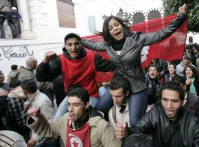 Tunisians continue to protest the interim government that followed the fall of the dictator Ben Ali