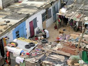 An impoverished slum in Ghana