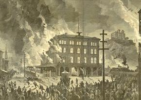 The burning of the Union Depot in Pittsburgh during the Great Railroad Strike of 1877