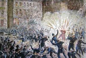 An illustration of the explosion in Haymarket Square
