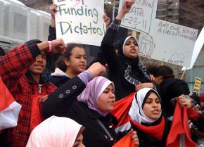 Thousands of demonstrators came out in New York City to show their solidarity with the revolt in Egypt