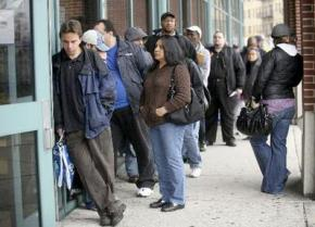 Waiting in line at the unemployment office