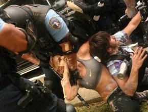 Riot police attacked student demonstrators for the crime of writing and painting slogans in support of the struggle