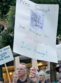 WikiLeaks supporters call out the harsh treatment of Julian Assange