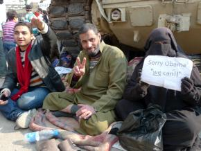 Protesters camped out in Tahrir Square in the days before Mubarak's fall