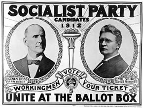 Eugene Debs featured in a poster for the Socialist Party's 1912 presidential ticket