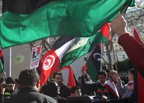 Demonstrators gather in San Francisco to show their solidarity with the struggle in Libya