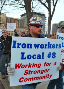 Ironworkers join the mass protests to defend workers' rights in Madison
