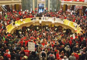 The occupied Wisconsin Capitol building in Madison