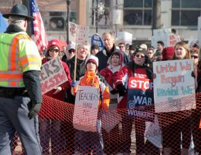 Protesters against Wisconsin Gov. Scott Walker's anti-union legislation gather outside the state Capitol