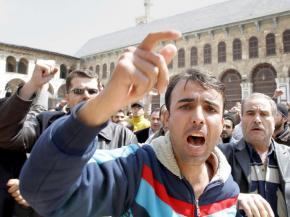 Hundreds march through Damascus' Old City area