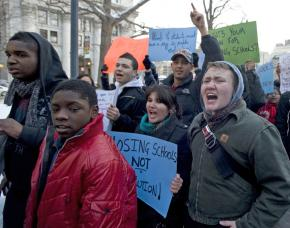 Protesters march against public school closings in New York City