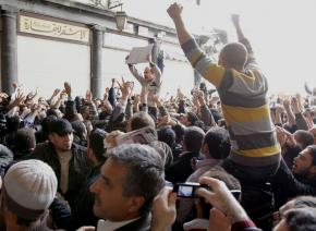 Mass protests flood the street in Damascus