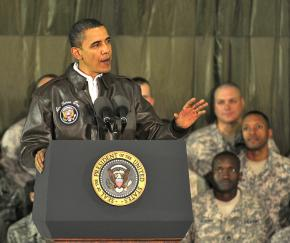 Barack Obama makes a speech in front of troops in Afghanistan