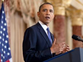 Barack Obama delivering his speech on the Arab Spring and the Palestine-Israel conflict