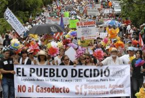 Tens of thousands of people gathered on May Day to protest plans for the natural gas pipeline in Puerto Rico