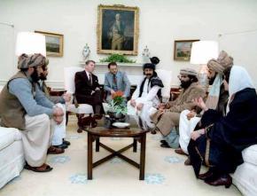 Ronald Reagan entertains visiting Afghan rebels who battled the ex-USSR occupation