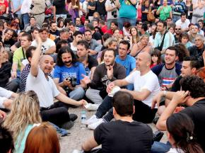 Protesters in Thessaloniki fill a public square in protest against austerity measures