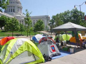 Tents set up around the Wisconsin Capitol building on Day 2 of the Walkerville protest camp