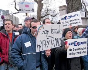 LGBT rights activists rally for marriage equality in Massachusetts in March 2004